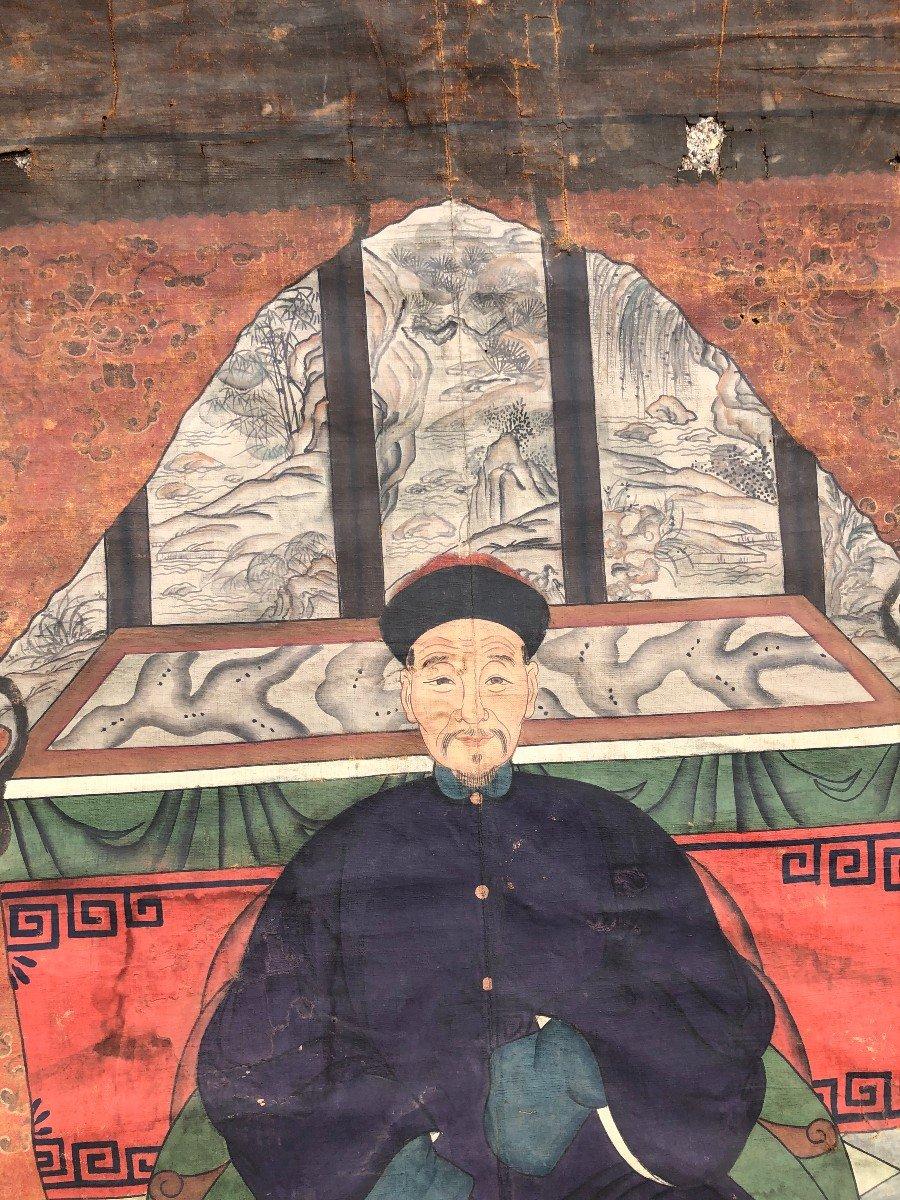 Ancien Portrait D'ancêtre Dignitaire Chinois-photo-6
