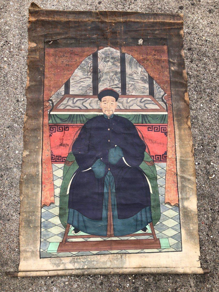 Ancien Portrait D'ancêtre Dignitaire Chinois