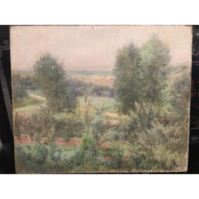 Painting On Canvas Landscape Signed Vm Marco Del Ponte 1908