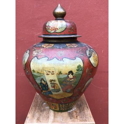 Important Terracotta Potiche Decors Japonisant France 19th