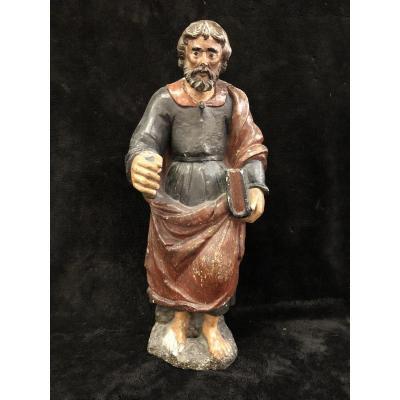 Saint Apôtre BarthÉlemy Pierre Sculpté Polychrome France 17éme Siécle