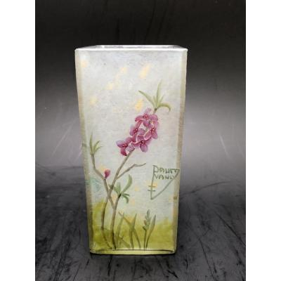 Enameled glass vase cleared with acid signed DAUM<br />