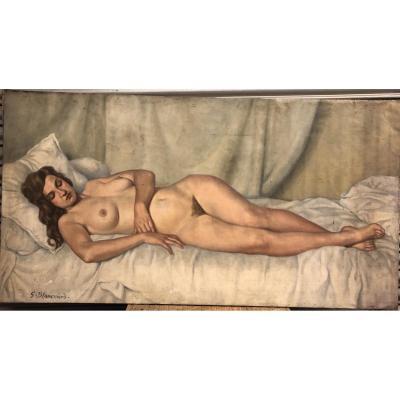 Important Tableau Peinture Sur Toile Nue Signé G Blanchard Vers 1930 D : 190 x 100 cm