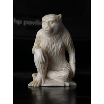 Small Ivory Sculpture Monkey Japan Early 20th