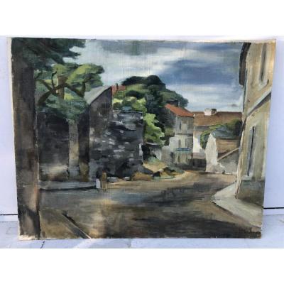 Katsuro Hara (japanese Painter, Born In 1889) Village Banlieue De Paris