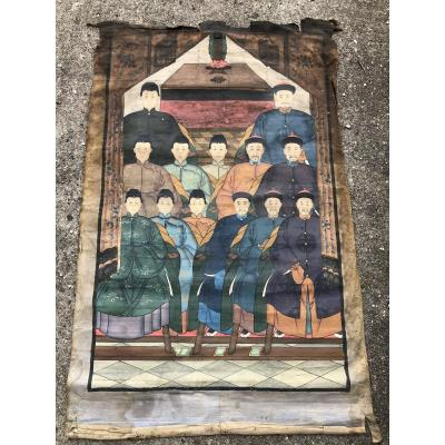 Peinture Sur Tissu 13 Ancêtres Chinois Dignitaires Mandarins Chine XIXéme