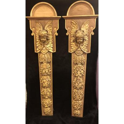 Golden Wood Angels Heads Sconces XVIIIth Century