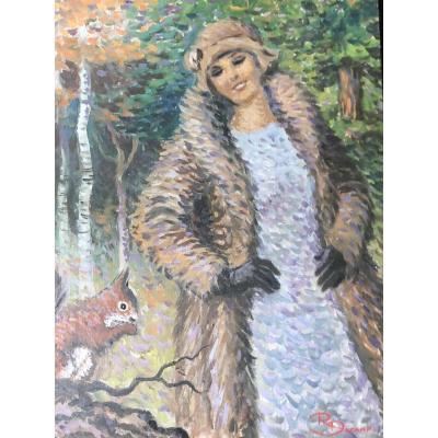 Rare Portrait Pointilliste Signé René Decamp - Femme à l'écureuil