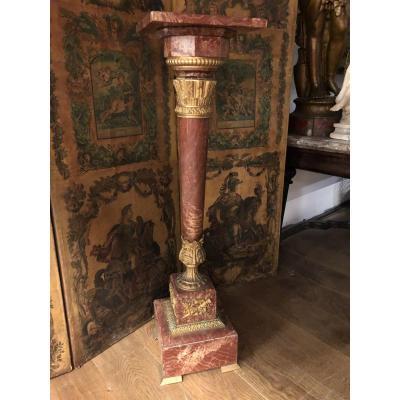 Colonne - Sellette Napoléon III Bronze Et Marbre Griotte