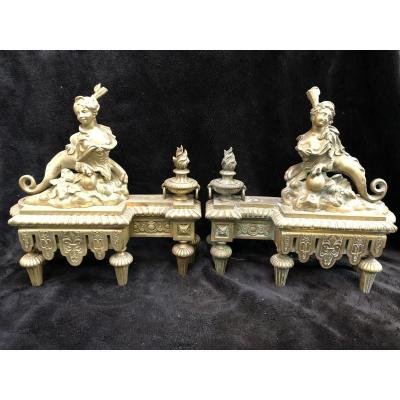 Pair Of Chenet Or Louis XIV Style Fire Front