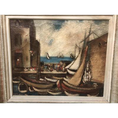 Peinture Sur Toile école Du XXe - Le Port