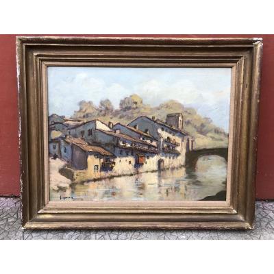 Ludovic Gignoux (1882-?) Tableau Basque - Saint Jean Pied De Port