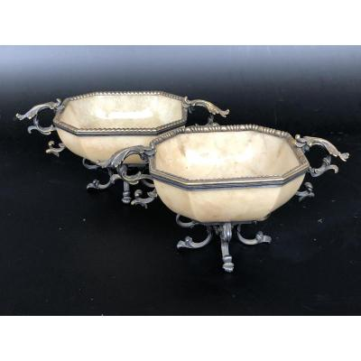 Pair Of Cups In Yellow Agate Mounted Silver Gold - XIXth