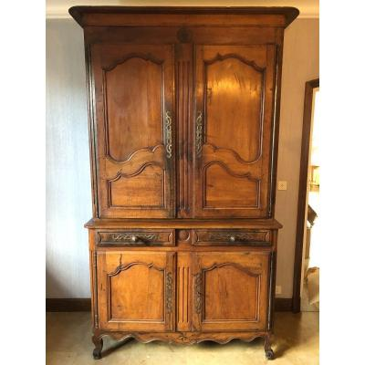 Antique Louis XV Buffet In 2 Walnut Corps 19th
