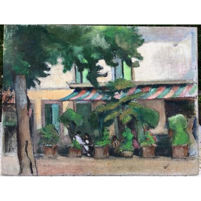 école Du XXème Siècle - La Terrasse De Café Vers 1950