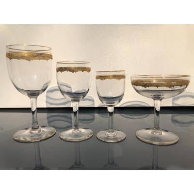 Saint Louis Golden Crystal Glasses Service Roty Model 44 Pieces