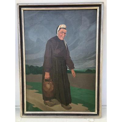 André Leveille (1880-1963) - Bretonne A La Cruche