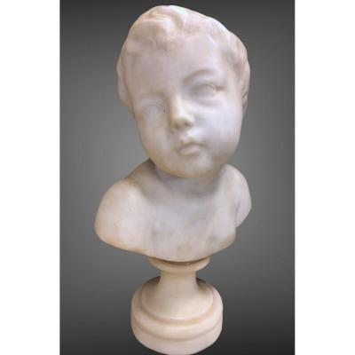Buste d'Enfant En Marbre d'Après Jean-baptiste Pigalle - Fin XIXème
