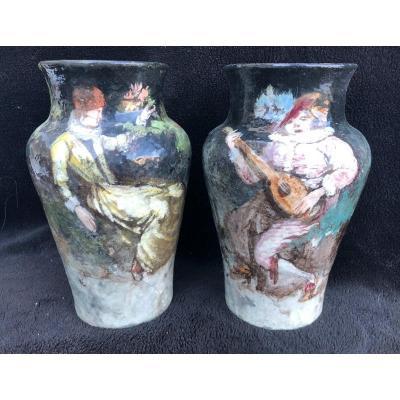 Paire De Vases Barbotine Impressionniste Montigny Sur Loing H 27 Cm