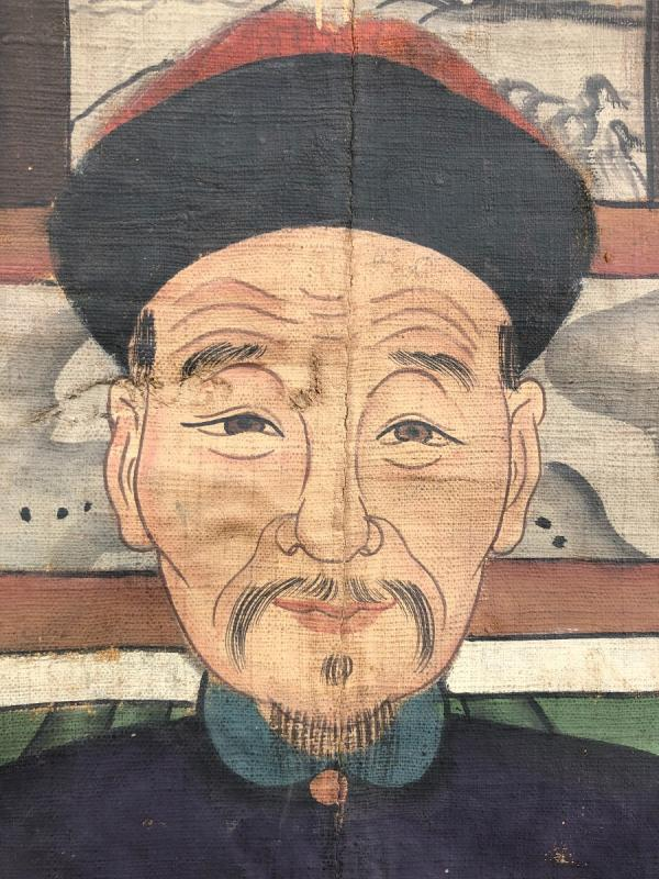 Ancien Portrait D'ancêtre Dignitaire Chinois-photo-2