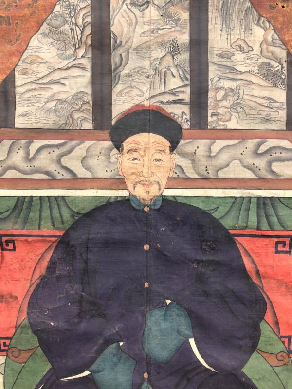 Ancien Portrait D'ancêtre Dignitaire Chinois-photo-3