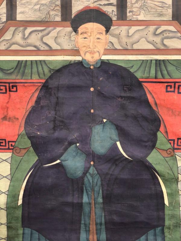 Ancien Portrait D'ancêtre Dignitaire Chinois-photo-4