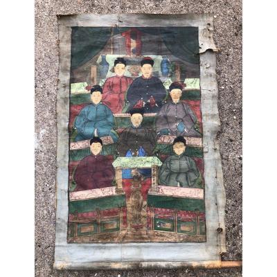 Ancien Portrait D'ancêtre Dignitaire Chinois Représentation De l'Arbre Généalogique