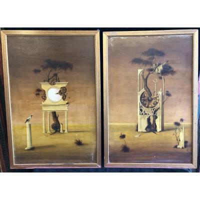 Paire De Peintures Surréaliste Vers 1960