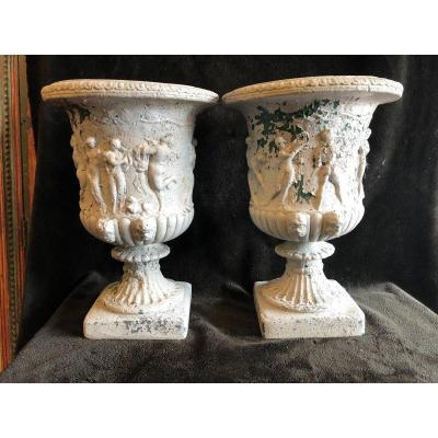 Paire De Vases De Jardin En Ciment Début XXème