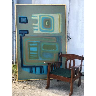 Large Abstract Painting Signed Fremond Dated 70 - Dimensions 200 X 133 Cm