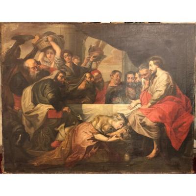 école Flamande XVIIème Suiveur De Pierre Paul Rubens - Le Repas Chez Simon Le Pharisien
