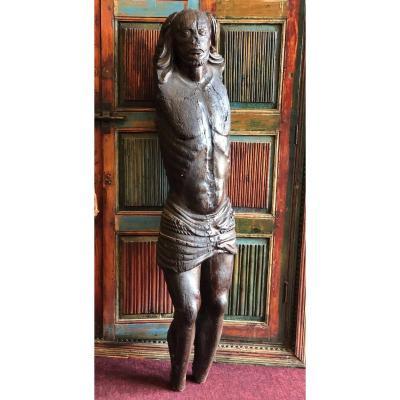 Grand Christ En Bois Début XVIème Hauteur 130 cm