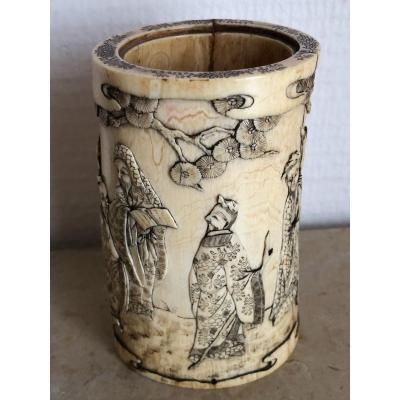 Brush Pot, Japanese Ivory Vase Late Nineteenth - Okimono