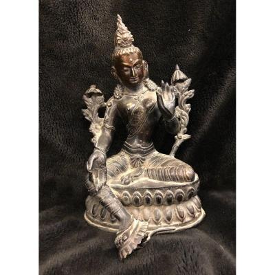Sculpture Bronze Bouddhiste  - Népal - Tibet - Bouddha Green Tara - début XXème H : 30 cm