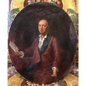Entourage De Johann Georg Ziesenis (1716-1776) Portrait D Homme à Son Cabinet