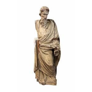 Saint Personnage Barbu - Bois Sculpté XVIIème - H 153 cm