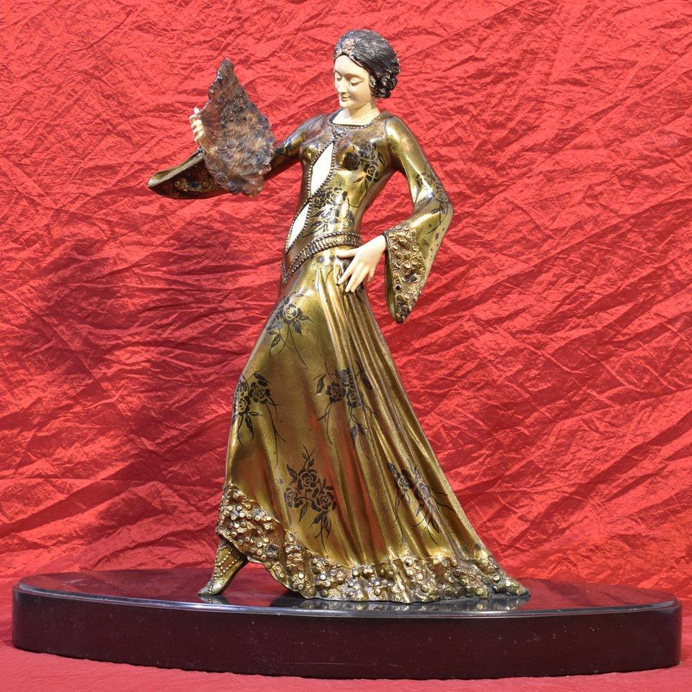 Antique Antimony Sculpture, Woman With Fan Sculpture, Art Deco, 20th Century. (stan25)