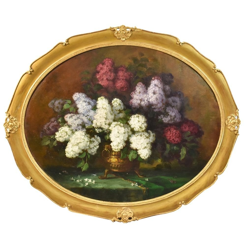 Flower Painting, Lilacs And Wisteria Flowers Art,  Oil On Canvas, 19th Century.  (qf200)