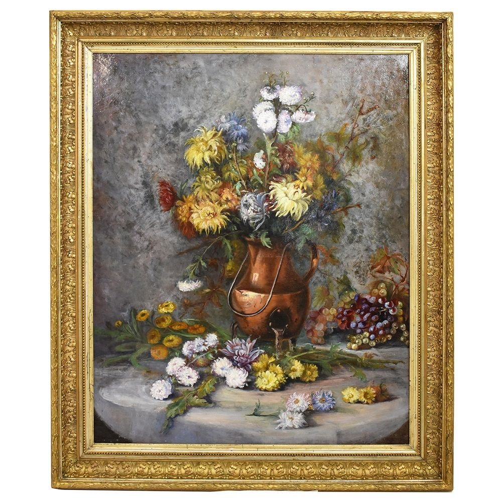 Antique Flower Painting, Chrysanthemums And Dahlias Flowers, Still Life, Oil On Canvas.(qf251)