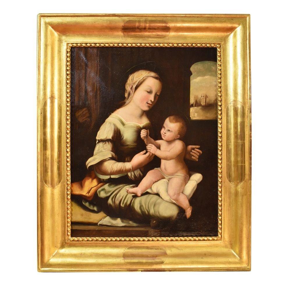 Tableau Religieux Ancien, Vierge à L'Enfant, Huile Sur Toile, XIXème Siècle. (QRel141)