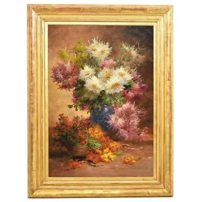 Large Flowerpainting, Dahlias And  Roses, Still Life, Oil On Canvas, 19th Century.  (qf237)