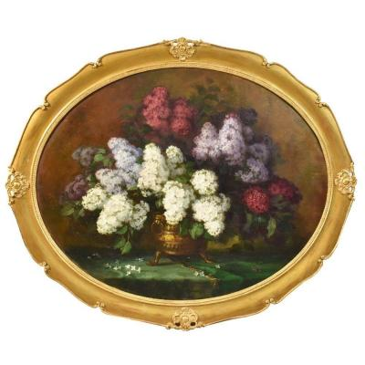 Composition de fleurs, Glycines et Lilas, signé Paul Kaupke (XIX-XX) . (QF200)