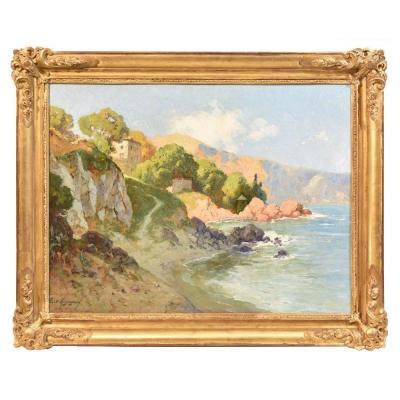 Peinture paysage , huile sur bois, début XXè siècle, Albert Regagnon (1874-1961) . (QP221)