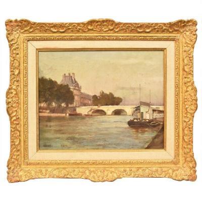 Peinture paysage, Pont Neuf,  XIXè siècle. (QP 228)