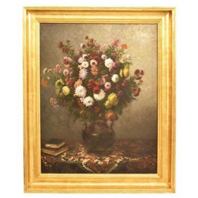 Tableau Composition de Fleurs,  Dahlias, Chrysanthèmes et Marguerites, XIXè  siècle. (QF232)