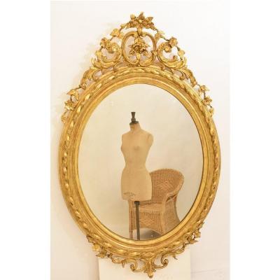 Miroirs Anciens, Grand Miroir ancien, Miroir Ovale Doré Avec De fleurs, XIXè siècle. (SPO100)