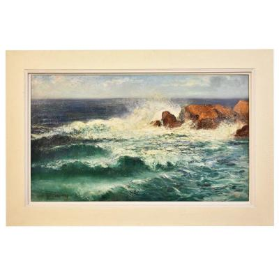 Marine Painting, Waves And Rock Painting, Seascape Painting, 20th Century, Art Deco. (qm194)