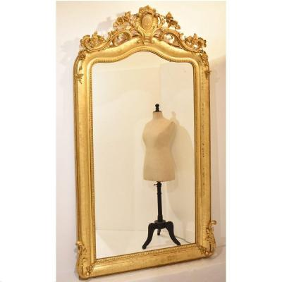 Antique Wall Mirror, Rose And Daisies Gold Wall Mirror, Gold Leaf Frame, 19th Century. (spc60)