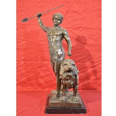 Sculptures Anciennes En Bronze, Guerrier Et Lion, Antoine-louis Barye,  XIX Siècle.