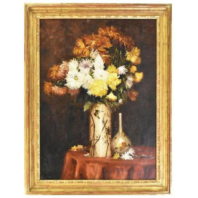 Flowerpainting, Daisies, Still Life, Oil On Canvas, 19th Century. (qf39)